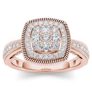 De Couer 10k Rose Gold 1/2ct TDW Diamond Cluster Double Frame Engagement Ring (H-I,I2)