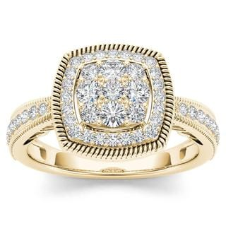 De Couer 10k Yellow Gold 1/2ct TDW Diamond Cluster Double Frame Engagement Ring (H-I,I2)