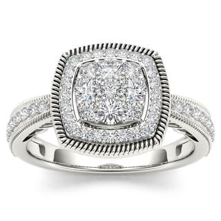 De Couer 10k White Gold 1/2ct TDW Diamond Cluster Double Frame Engagement Ring (H-I,I2)
