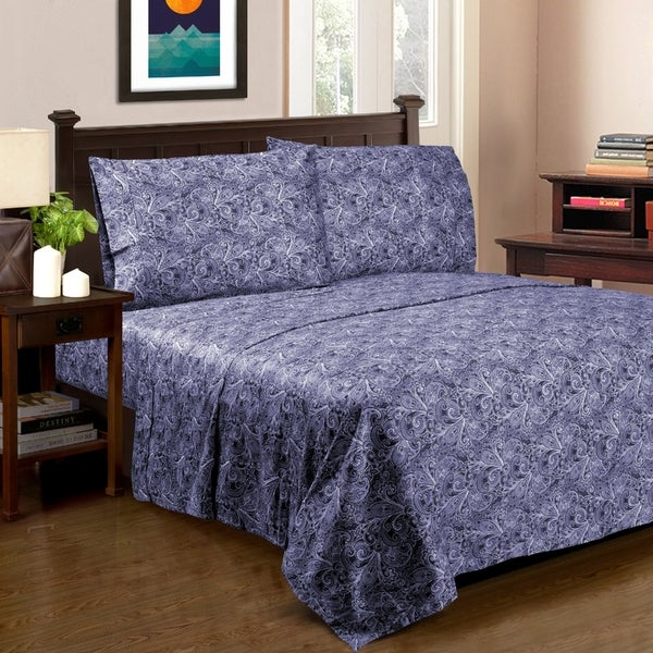 Superior 300 Thread Count Cotton MayWood Sheet Set Blue