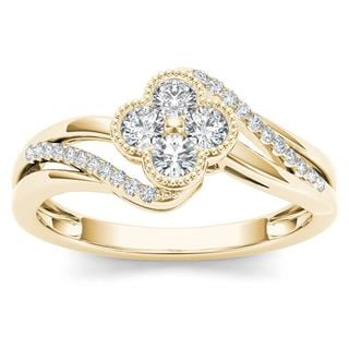 De Couer 10k Yellow Gold 1/3ct TDW Diamond Fashion Ring (H-I,I2)