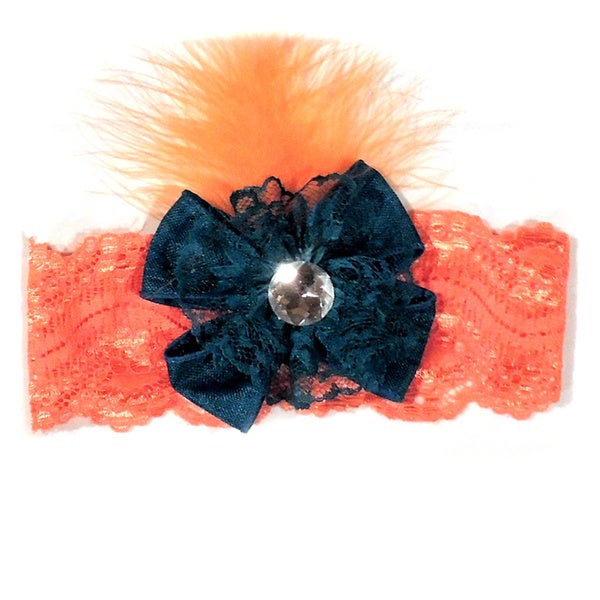Girls Lace Feather Headband
