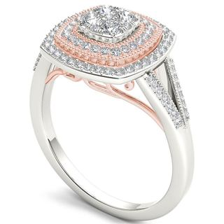De Couer 10k Pink Two-Tone White Gold 1/2ct TDW Diamond Halo Engagement Ring (H-I,I2)