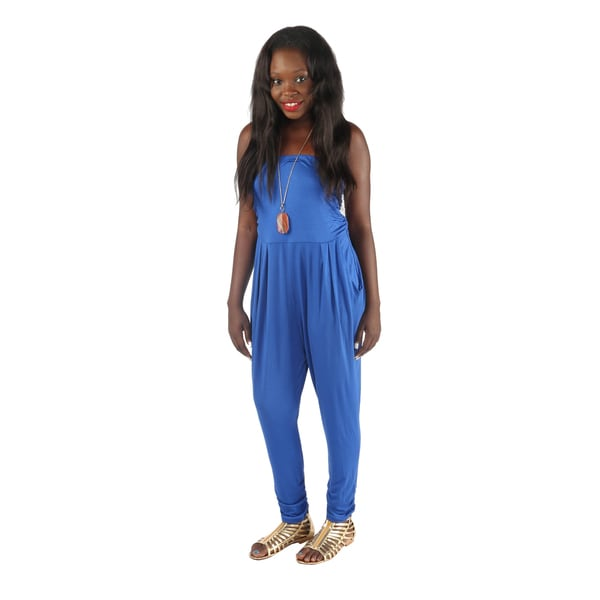 Hadari Womens Slimfit Royal Blue Straight Across Neckline Pegged Bottom Jumpsuit with side front pockets