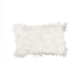 White Animal-print 100-percent Sheepskin Mongolian Pillow
