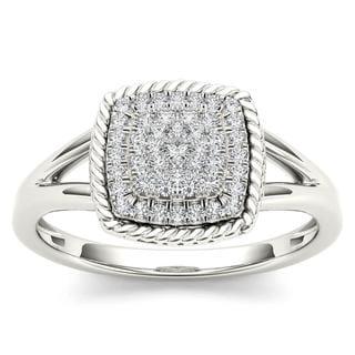 De Couer 10k White Gold 1/4ct TDW Diamond Cluster Halo Engagement Ring (H-I,I2)