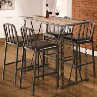 Industrial Distressed Finish Chain Link Bistro Bar Pub Table Set
