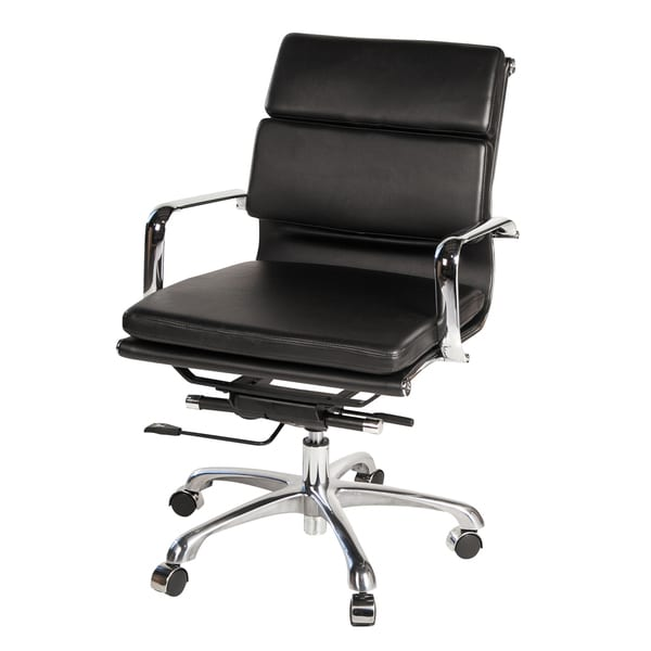 Eames Style Executive Leather Office Chair, Black 19650038