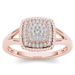 De Couer 10k Rose Gold 1/4ct TDW Diamond Cluster Halo Engagement Ring (H-I,I2)