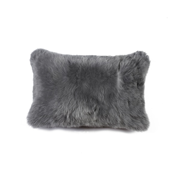 Grey Natural 100-percent New Zealand Sheepskin 12-inches Wide x 20-inches High Pillow