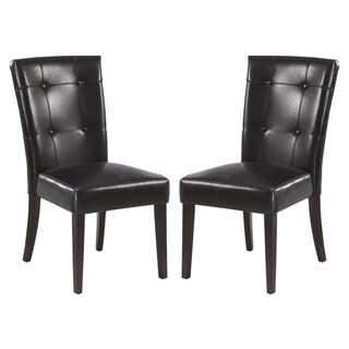 Boss Button Tufted Design Parsons Style Black Dining Chairs (Set of 2)