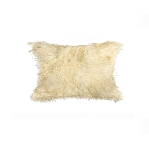 Natural Mongolian Sheepskin/Faux Suede 12-inch x 20-inch Pillow