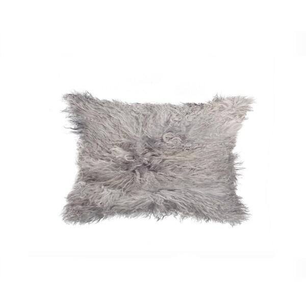 NA Grey Mongolian Sheepskin 12-inch x 20-inch Pillow