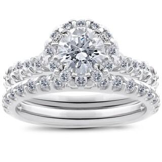14K White Gold 1 1/2 ct TDW Halo Diamond Engagement Ring Wedding Band Set (I-J,I2-I3)