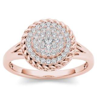 De Couer 10k Rose Gold 1/4ct TDW Diamond Cluster Halo Engagement Ring (H-I,I2)
