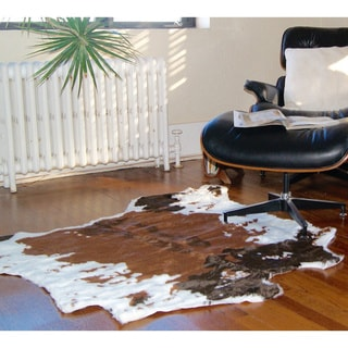 Luxe Chocolate White Faux Cowhide Throw Rug (4' x 5')