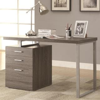 Modern Design Home Office Weathered Grey Writing/ Computer Desk with Drawers and File Cabinet