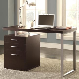 Modern Design Home Office Cappuccino Writing/ Computer Desk with Drawers and File Cabinet