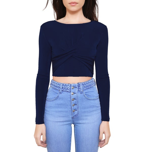 MinkPink Forbidden Love Navy Long-sleeved Crop Top