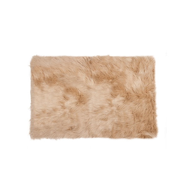 Luxe Hudson Tan Faux-sheepskin Rug/Throw (2' x 3')