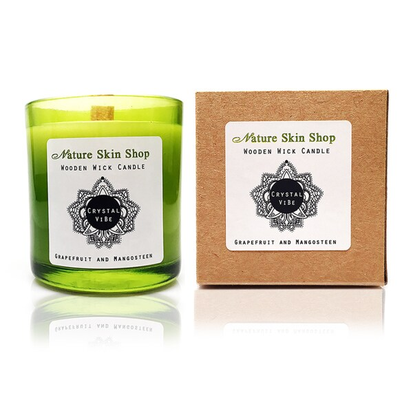 Grapefruit and Mangosteen Wooden Wick Candle -- A Hidden Crystal In Every Candle