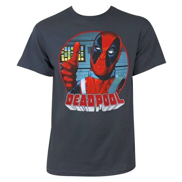 Deadpool Thumbs Up Grey Cotton/Polyester T-shirt