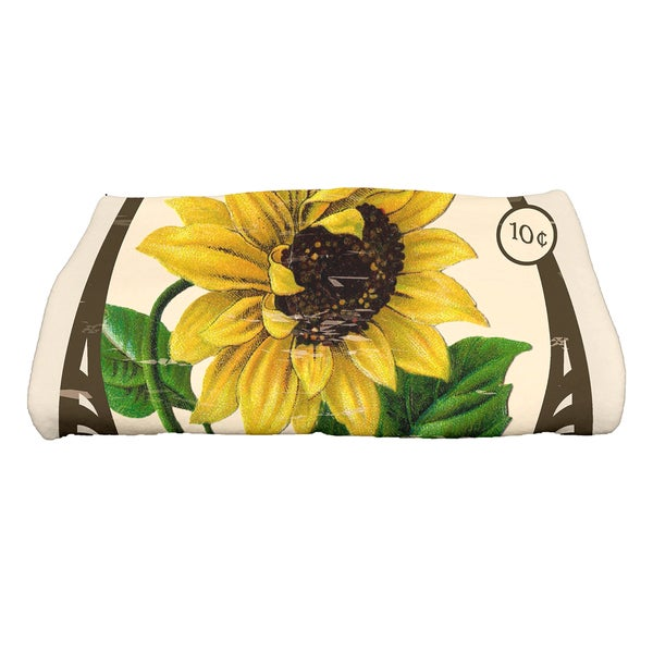 28 x 58-inch Sunflower Floral Print Bath Towel