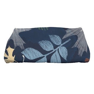 28 x 58-inch Watercolor Leaves Floral Print Bath Towel
