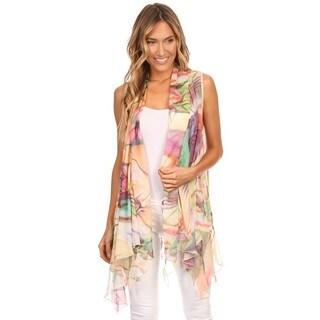 High Secret Women's Polyester Bold Print Vest Cardigan