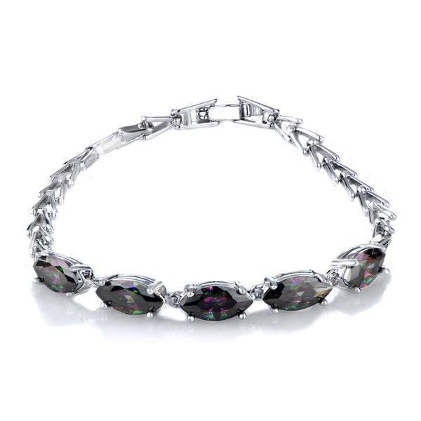 Marquise Cut Multi-Color CZ Link Bracelet 19652226