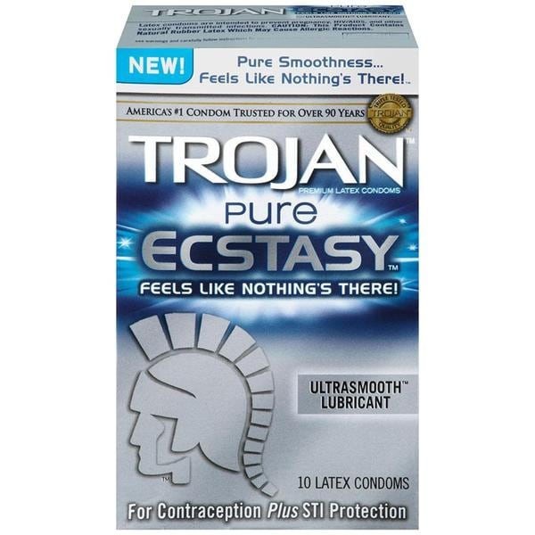 Trojan Pure Ecstasy Lubricated Condoms (Pack of 10) 19652239