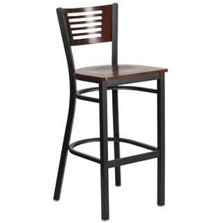 HERCULES Series Black Decorative Slat Back Metal Restaurant Barstool - Wood Back & Seat