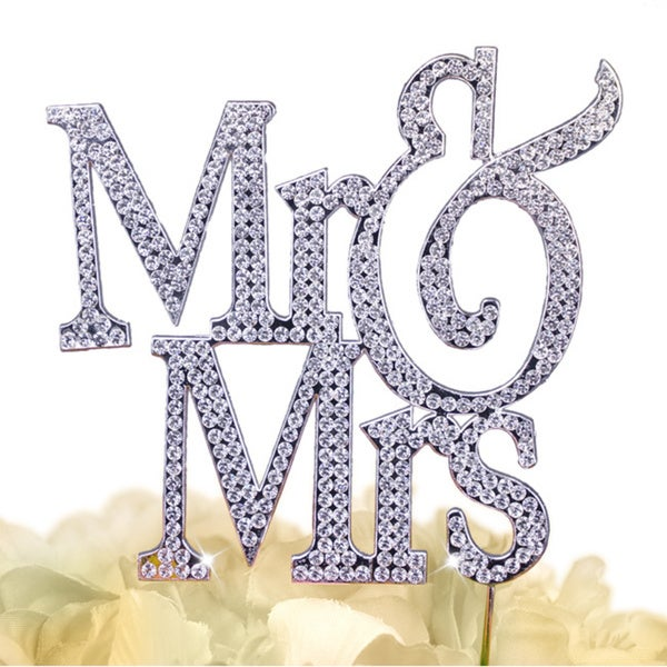 Unik Occasions Sparkling Collection Block Mr & Mrs Cake Topper