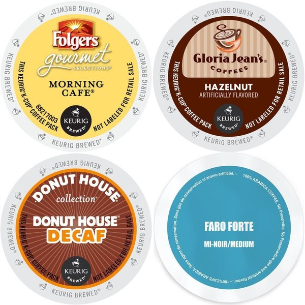 K-Cup Gloria Jean's Hazelnut, Faro Forte Medium Roast, Folgers Morning Cafe, and Donut House Decaf 96 Count Coffee Variety Pack 19653557