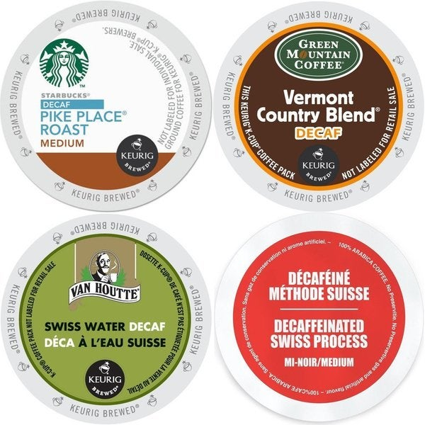 Decaf K-Cup Coffee 96 ct Variety Pack- Starbucks Pike Place, Green Mountain Vermont Country Blend, Van Houtte & Faro Swiss Water