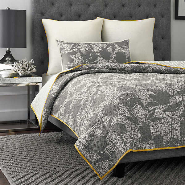 Vince Camuto Berlin Printed Floral Grey Coverlet