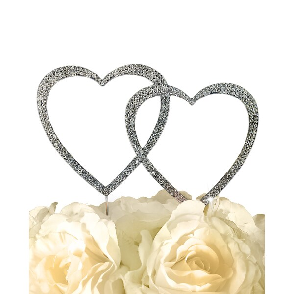 Unik Occasions Sparkling Collection Silvertone Rhinestones Double Heart Cake Topper