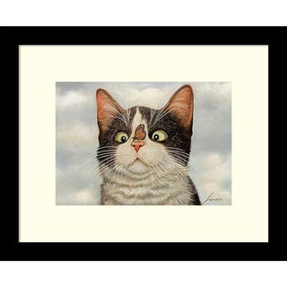 Framed Art Print 'Hugo Hege Cat and Butterfly' by Lowell Herrero 11 x 9-inch