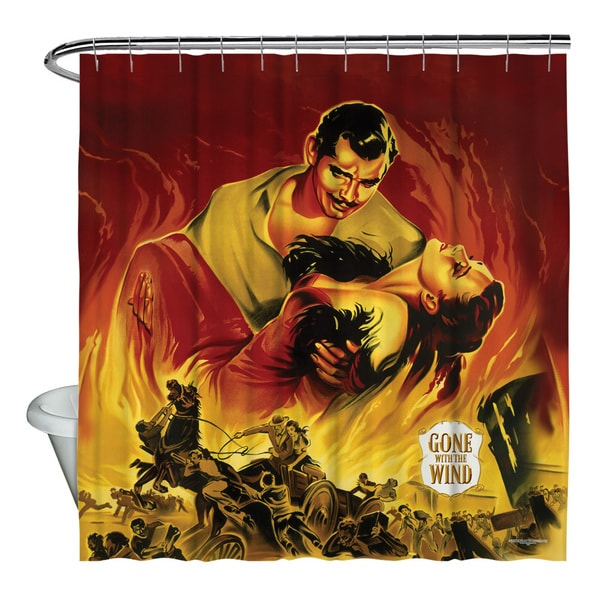 Gone With The Wind/Fire Poster Shower Curtain