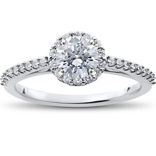 14k White Gold 7/8 ct TDW Halo Eco-Friendly Lab Grown Diamond Engagement Ring (F-G, SI1-SI2)