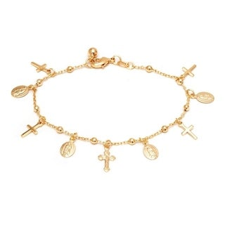18k Goldplated Cross and And Virgin Mary Charm Bracelet