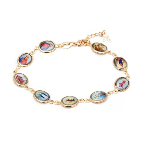 18k Goldplated Multicolor Virgin Mary and Jesus Round Link Bracelet
