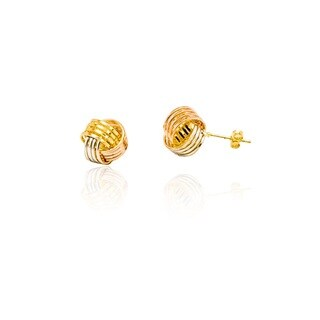 18k Goldplated Three-tone 4 Row Love Knot Stud Earrings
