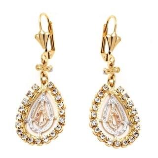18k Goldplated Triple Tone and Simulated Diamond Teardrop Drop Earrings