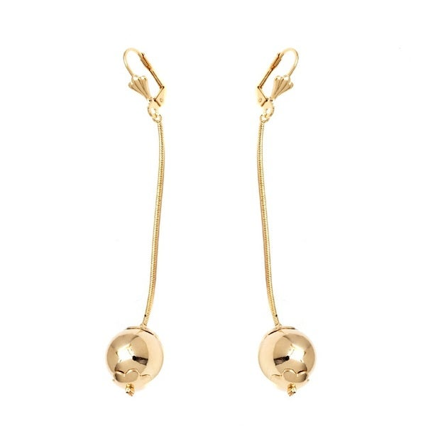 18k Goldplated Snake Chain Ball Drop Earrings