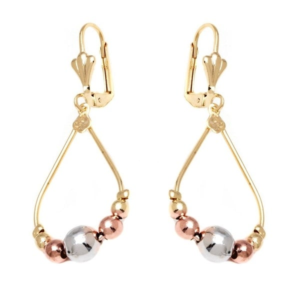 Goldplated Rose and Silvertone Teardrop Ball Beads Drop Earrings 19654200