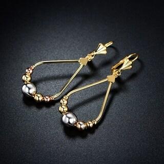 18k Goldplated Rose and Silver Teardrop Ball Beads Drop Earrings