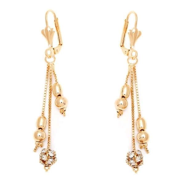 18k Goldplated Clear Crystal Triple Chain Drop Earrings
