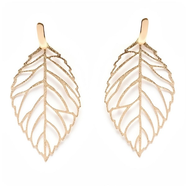 18k Goldplated Cut-out Leaf Drop Earrings