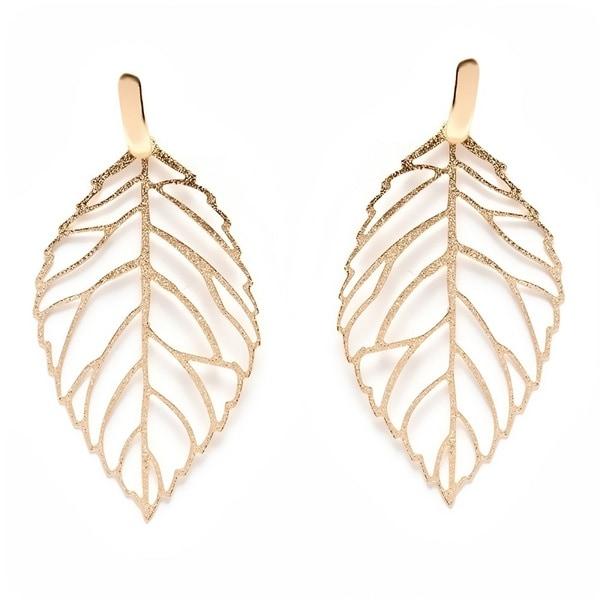 18k Goldplated Cut-out Leaf Drop Earrings